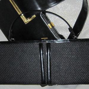 "Vintage Bags - VINTAGE 60'S FABRIC PATENT LEATHER 16"" BAG PURSE"